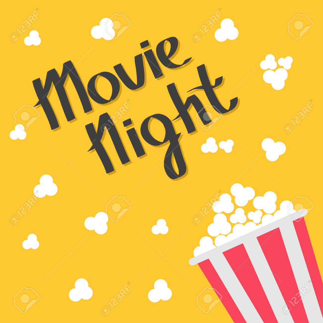 Popcorn bag. Cinema icon in flat design style. Right side. Movie night text. Lettering. Vector illustration - 53510771