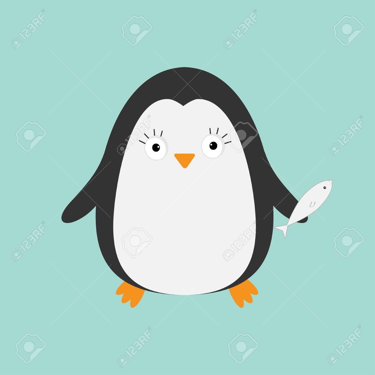 Penguin Au Poisson Personnage De Dessin Animé Mignon Collection D Animaux De L Arctique Bébé Oiseau Flat Design Vector Illustration