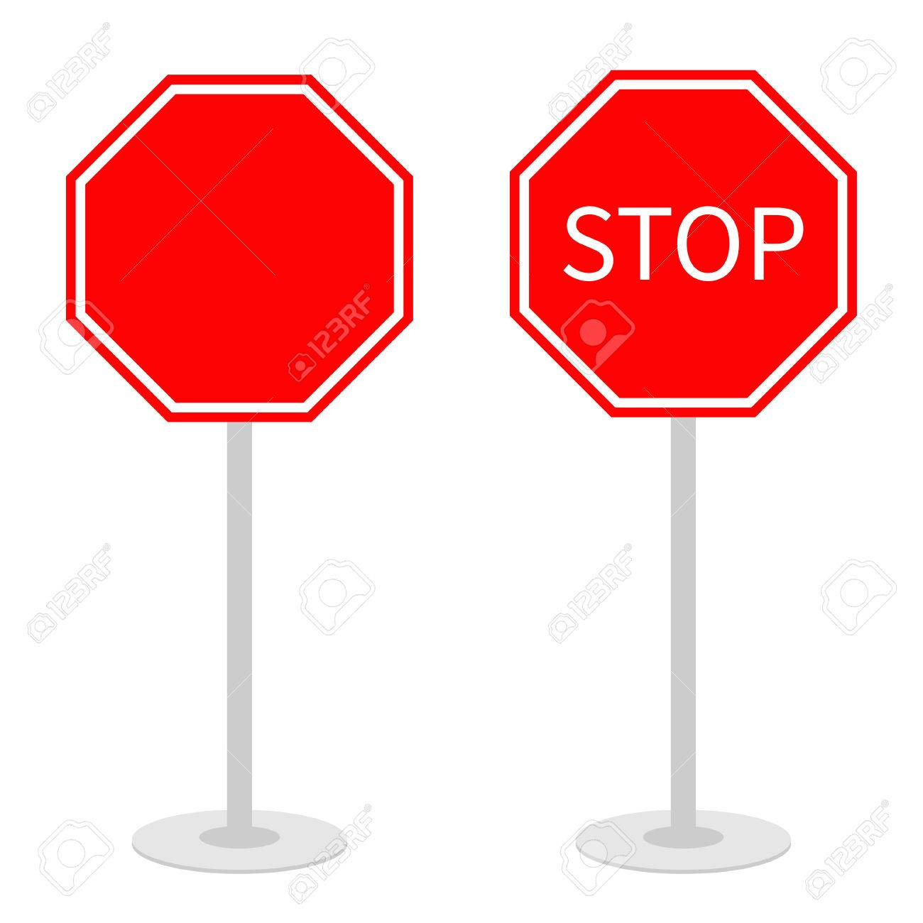 Stop Traffic Warning Road Sign Set With Stand. Prohibition No ...