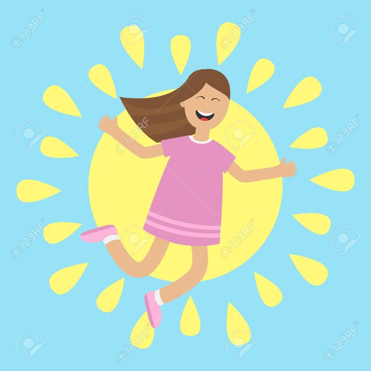 孤立したジャンプの女の子。太陽輝くアイコン。夏の時間。幸せな子供の