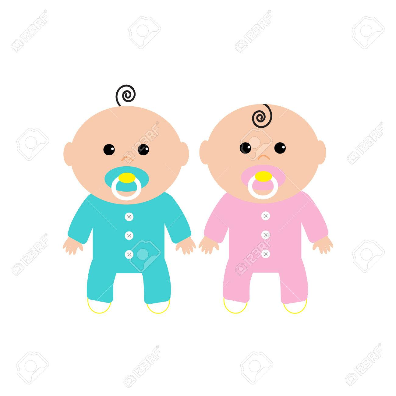 Twins Two Cute Twin Babies On White Background Baby Girl And