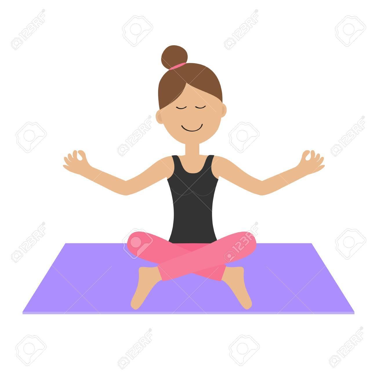 La Chica Joven Hacer Yoga. Carácter Lindo De La Mujer De Dibujos Animados  Sentado En Posición De Loto. Estilo De Vida Saludable. Ropa De Fitness. 77021dd81bc5