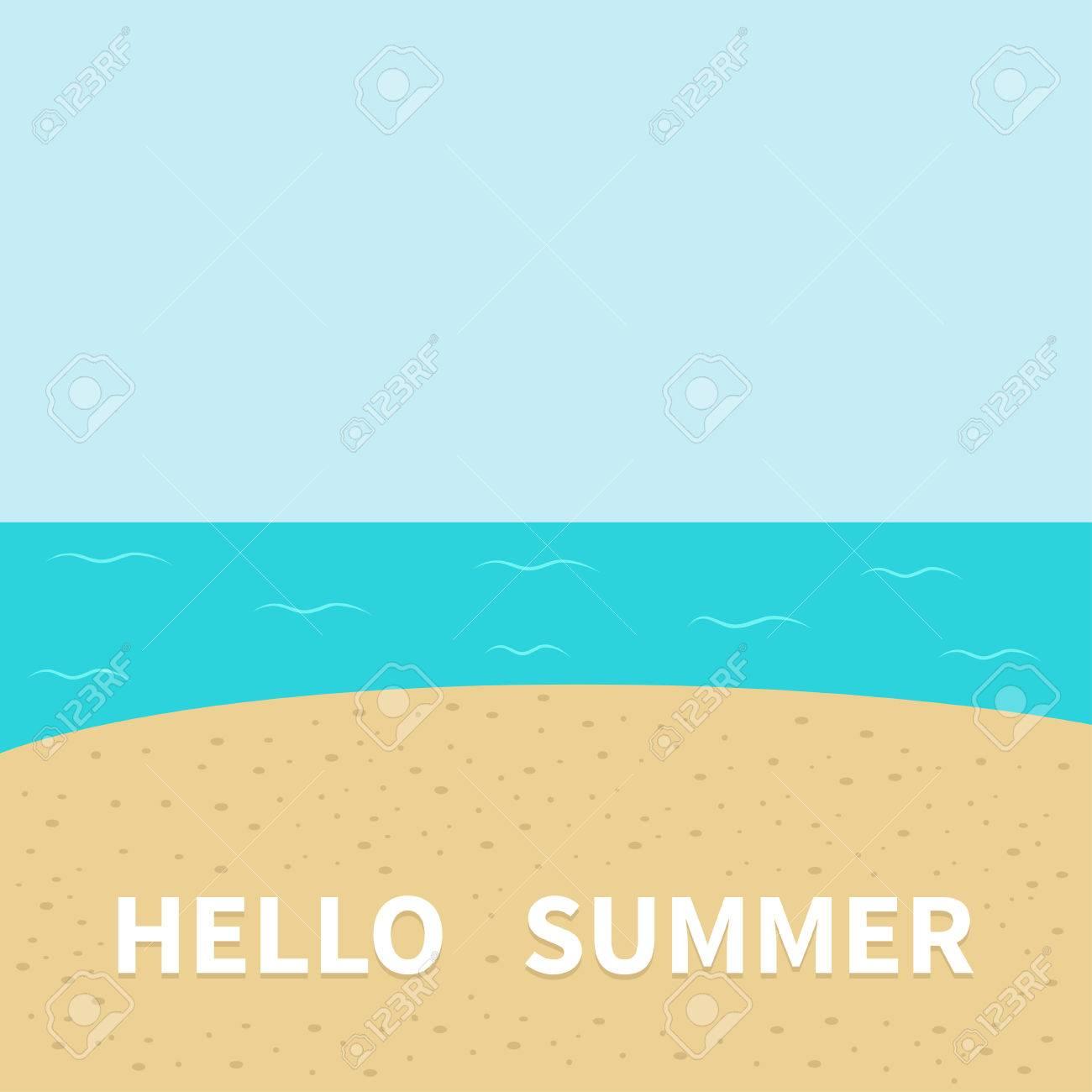 Exceptional Hello Summer Beach, Sea Ocean, Sky, Sand. Cute Cartoon Baby Character. Gallery