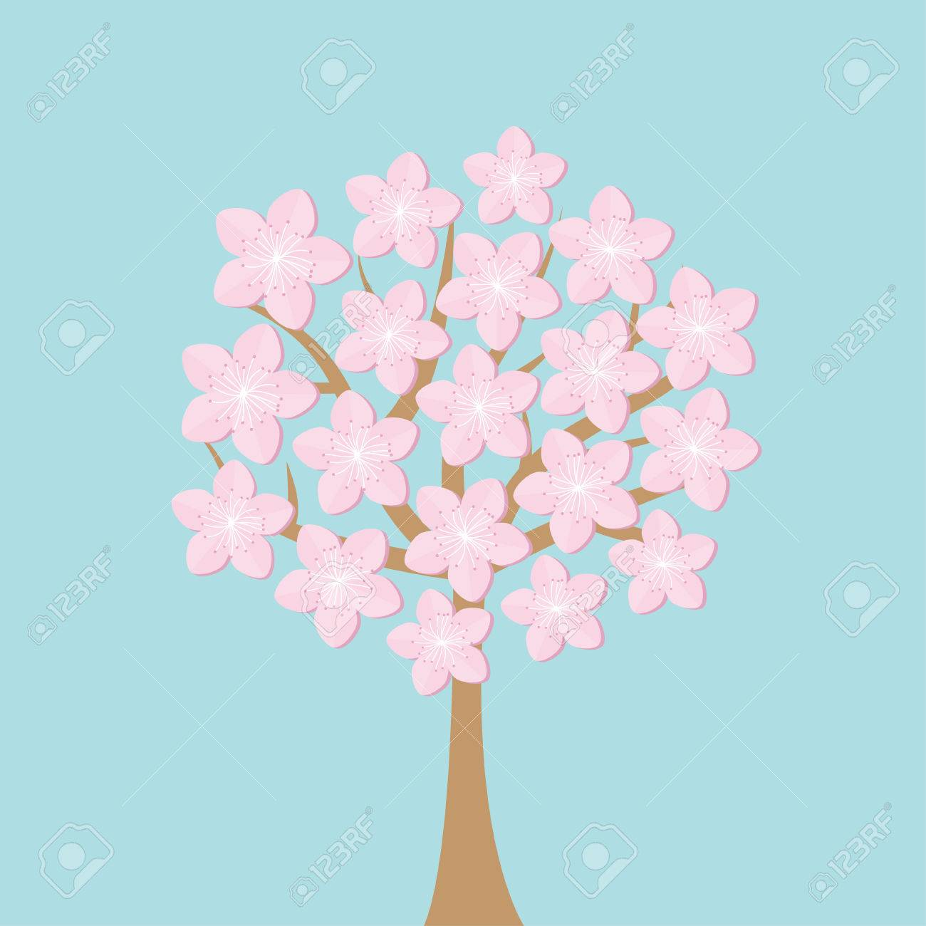 sakura tree flowers japan blooming cherry blossom set blue