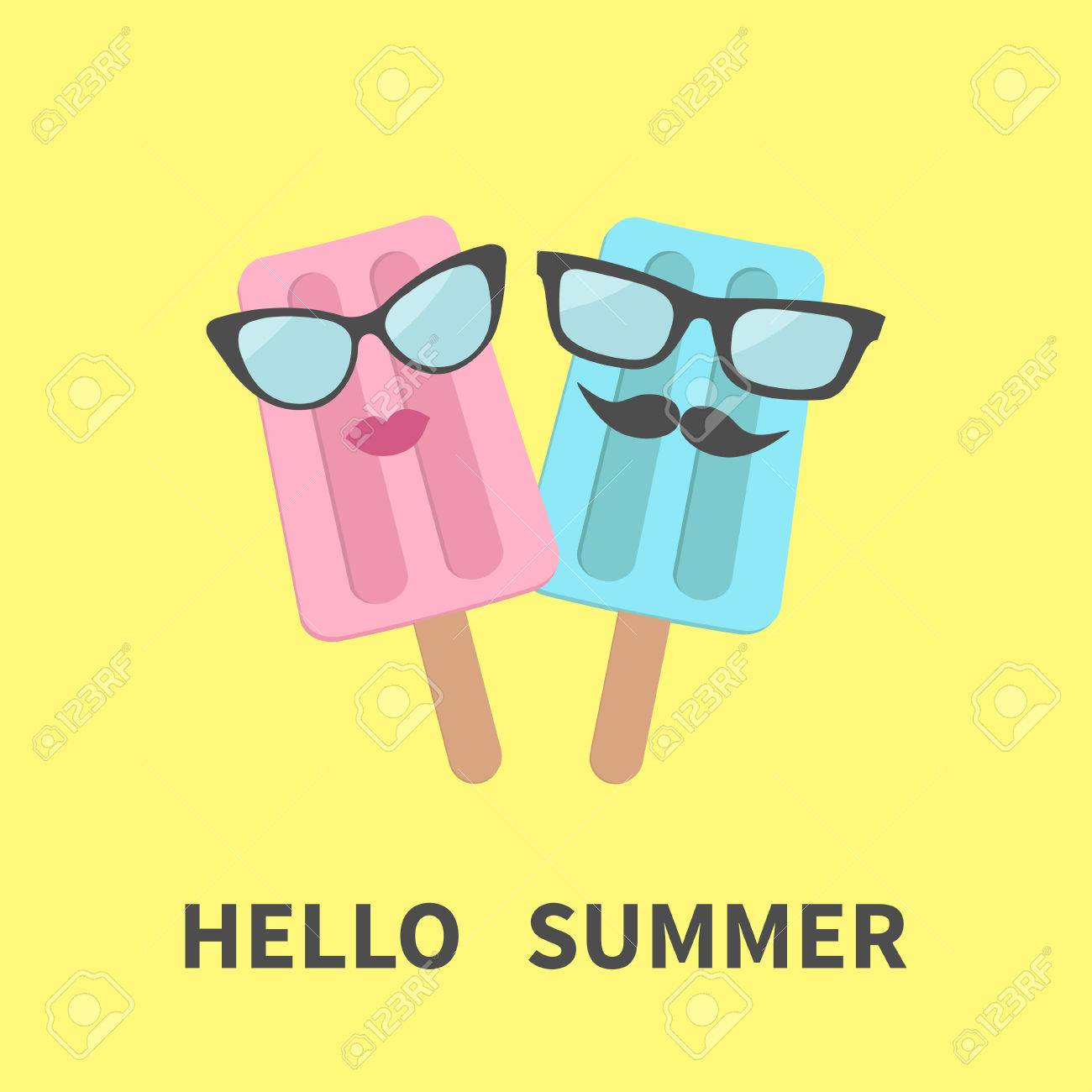 Ice Cream Couple With Lips, Mustaches And Eyeglasses. Hello Summer Greeting  Card. Flat