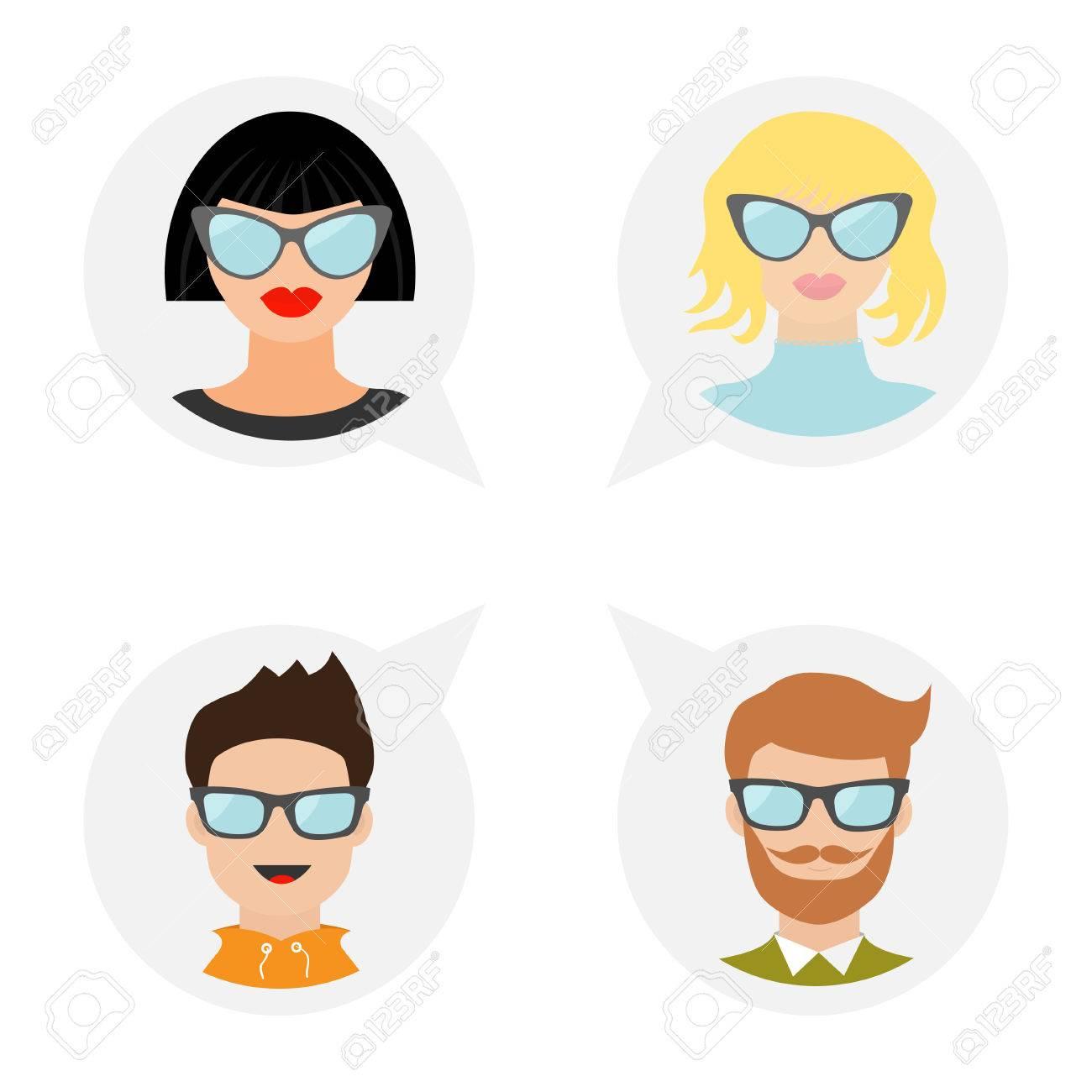 Avatar Menschen Icon Set Niedliche Cartoon Figur Diverse Gesicht
