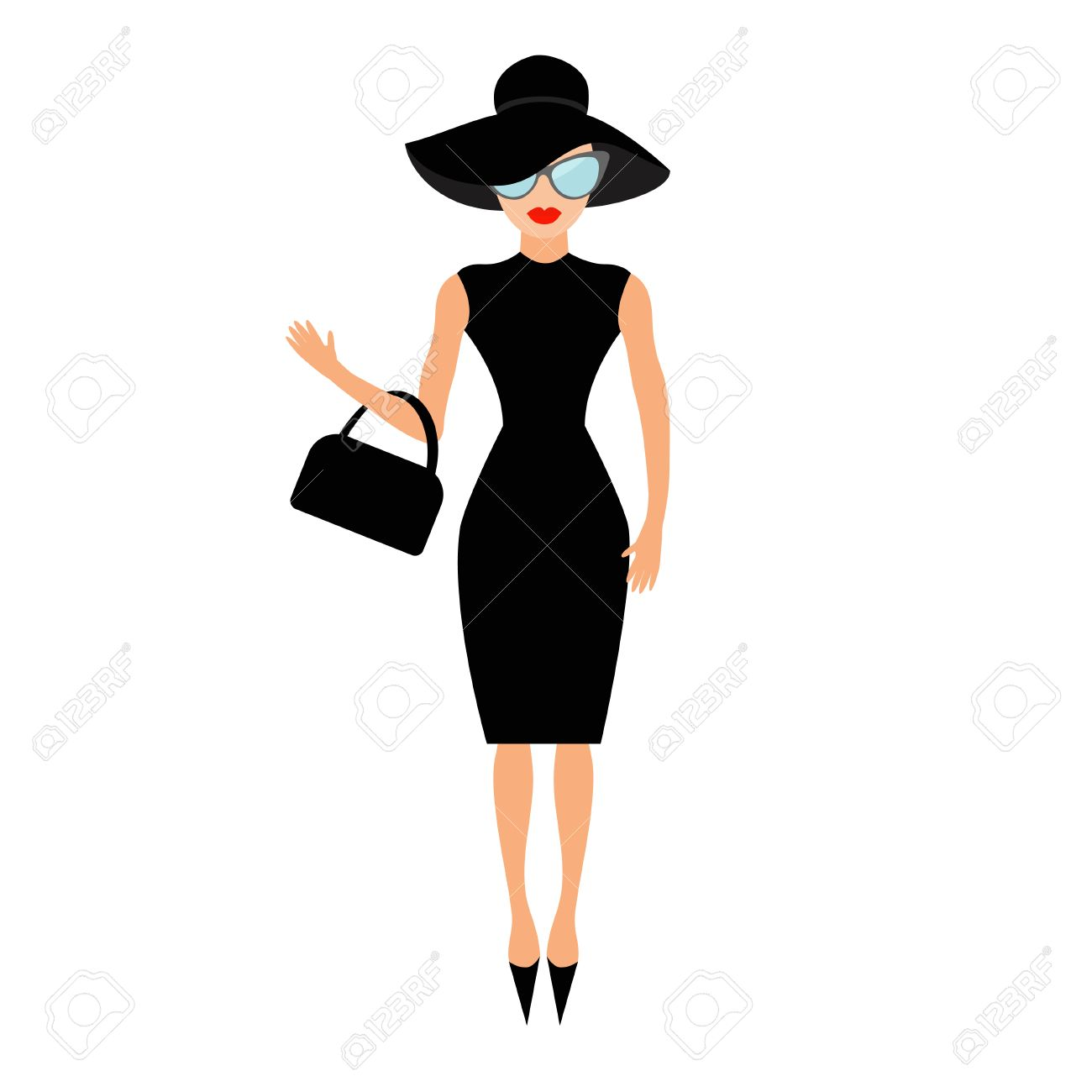 Black dress cartoon - Vector Woman In Black Elegant Hat Bag And Sunglasses Waving Rich And Beautiful Celebrity Girl Beauty Fashion Model Face Red Lips