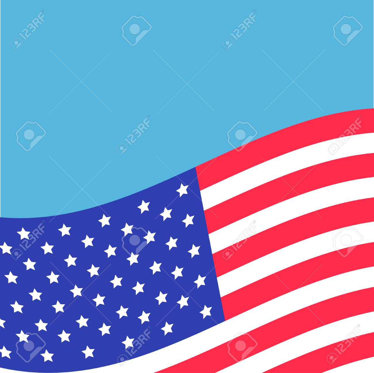 waving american flag frame blue background greeting card flat