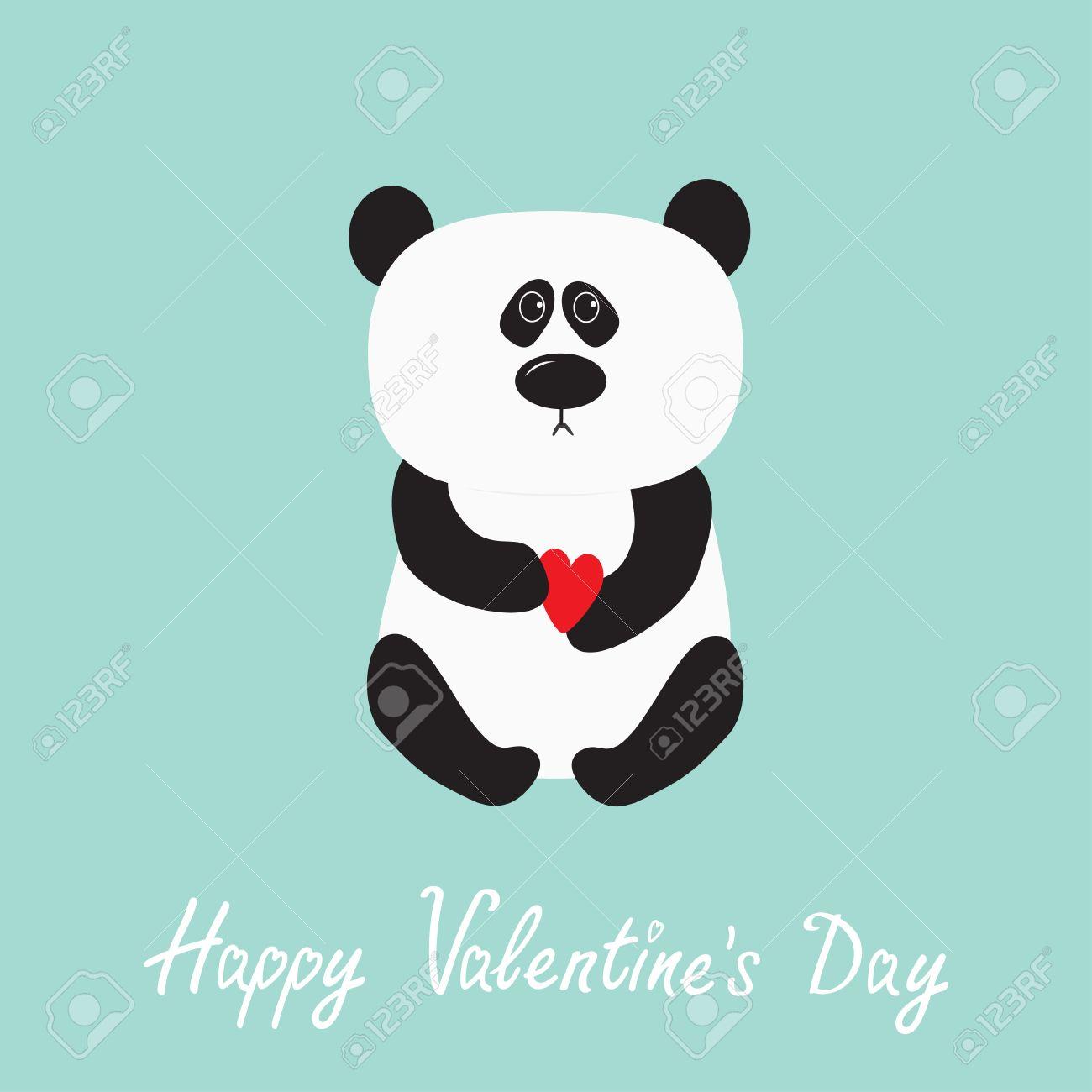 Bébé Ours De Panda Personnage De Dessin Animé Mignon Tenant Coeur Rouge Collection D Animaux Sauvages Pour Les Enfants Fond Bleu Joyeuse Saint