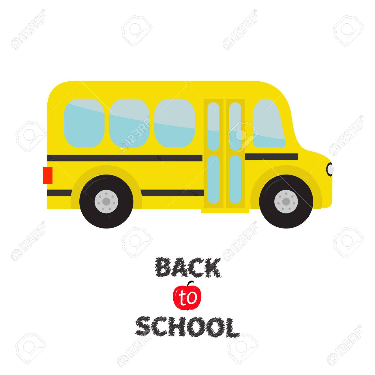 Yellow school bus kids cartoon clipart transportation baby cartoon clipart transportation baby collection side view back to school greeting card flat design isolated white background vector illustration m4hsunfo