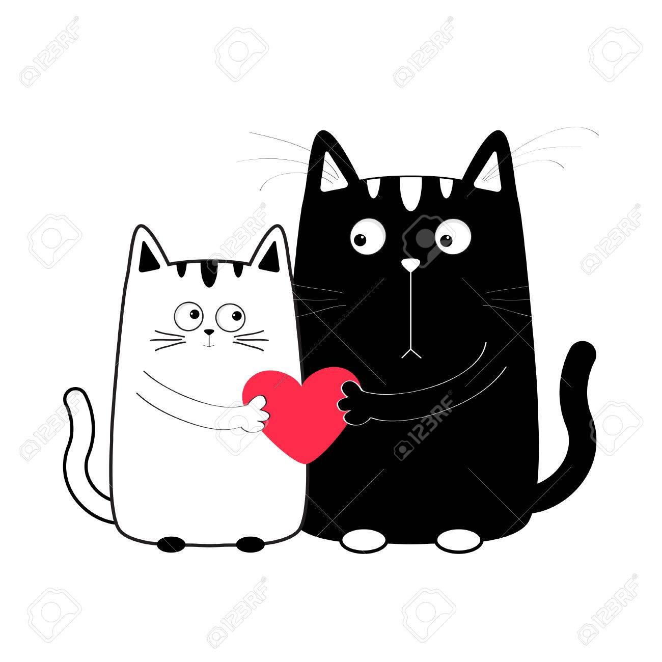 Negro De Dibujos Animados Chico Lindo Gato Blanco Y La Niña Con El