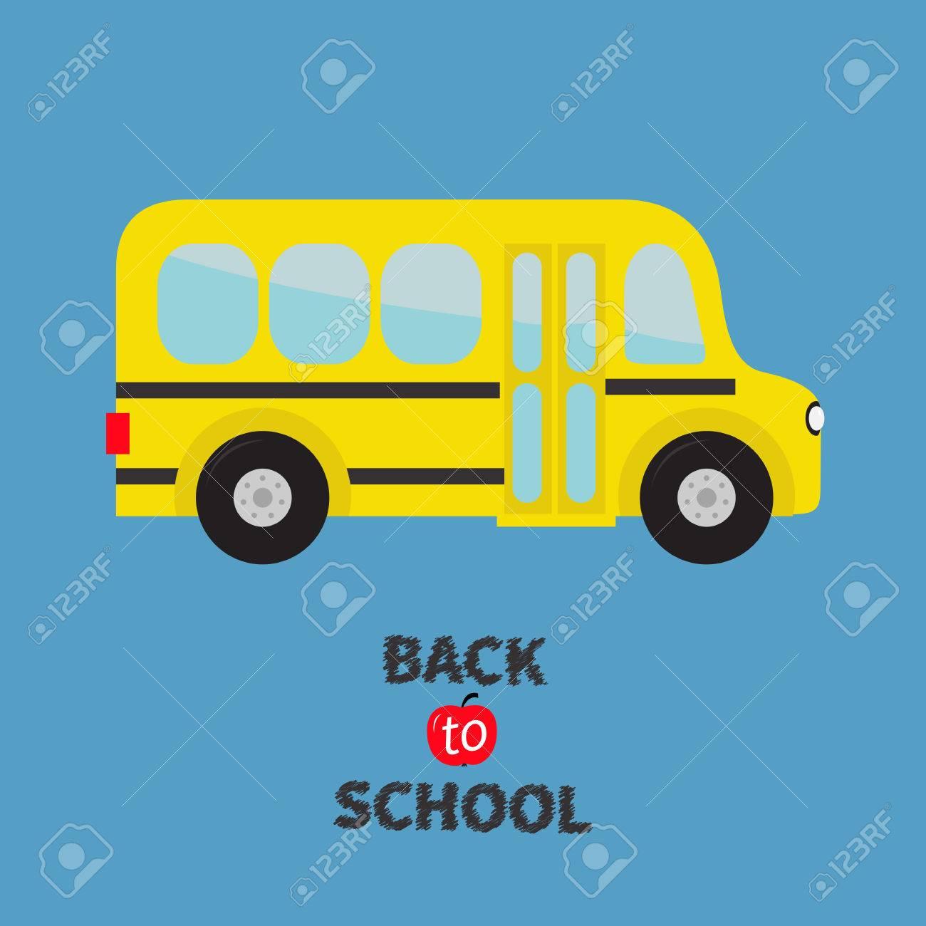 Jaune Autobus Scolaire Enfants Dessin Animé Transport Collection Baby Vue De Côté Retour à L école Carte De Voeux Design Plat Isolé Fond
