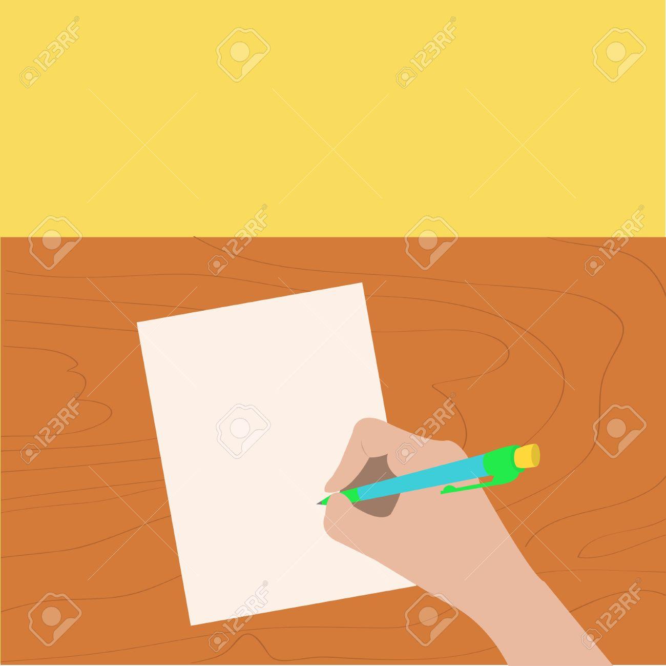 Escritura De La Mano De Dibujo De La Pluma. Mujer Que Sostiene El ...