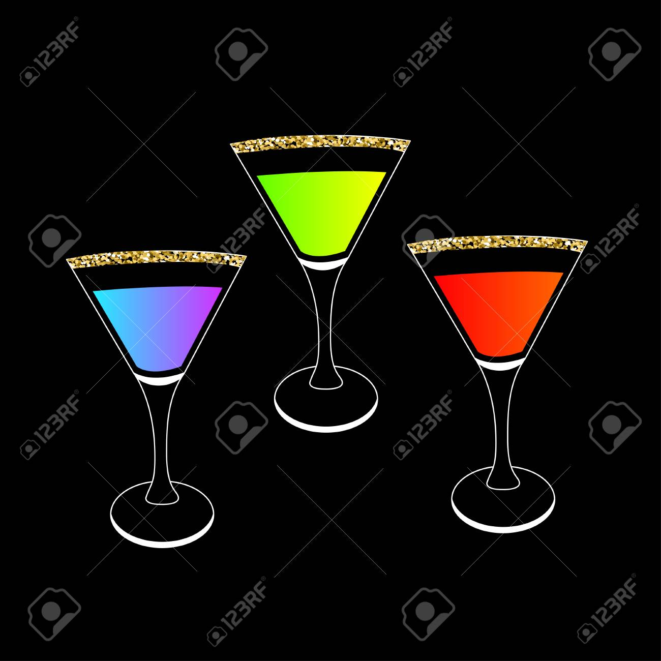 cocktail set in martini glass party card glowing drink gold