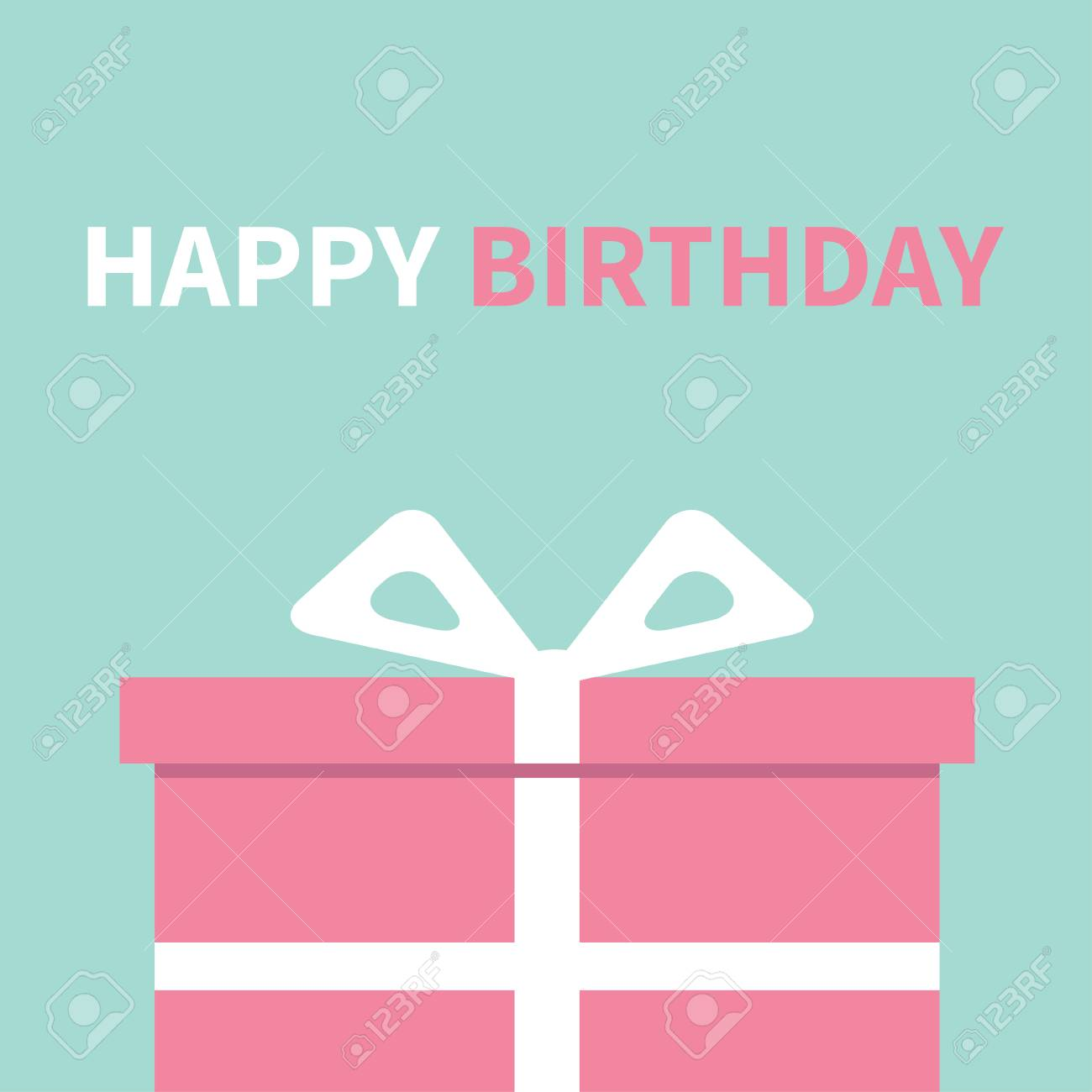 Gift box with ribbon and bow present giftbox happy birthday gift box with ribbon and bow present giftbox happy birthday greeting card blue m4hsunfo
