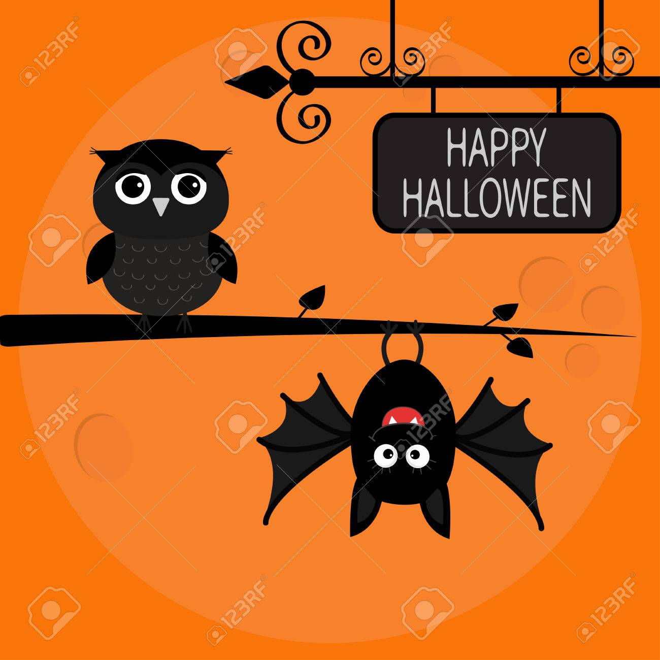 Happy Halloween Card. Bat Hanging On Tree. Wrought Iron Sign ...