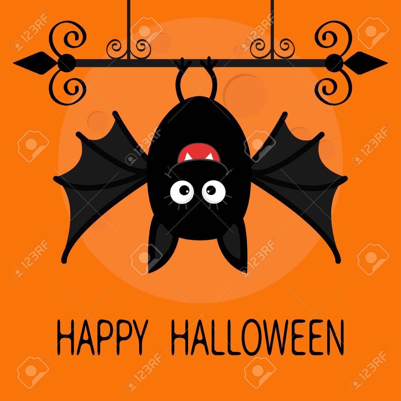 Happy Halloween Card Cute Cartoon Hanging Bat Animal Character