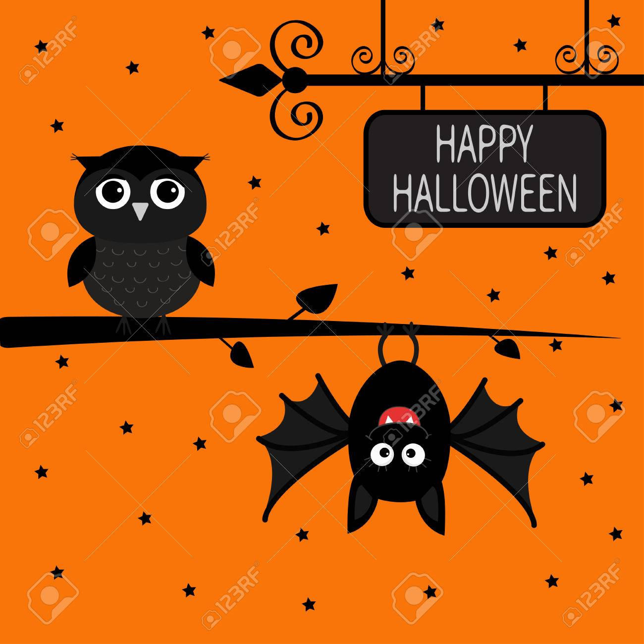 happy halloween card. bat hanging on tree. wrought iron sign