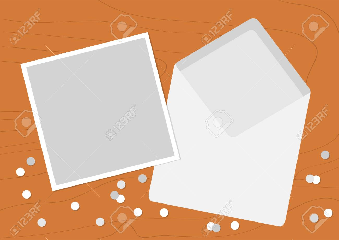 white opened blank envelope letter with greeting card realistic