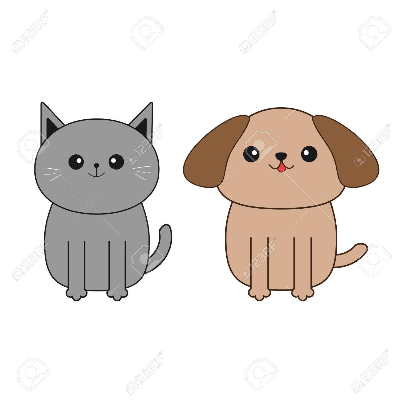 Cartoon Dog And Cat Mustache Whisker Funny Smiling Character Royalty Free Cliparts Vectors And Stock Illustration Image 63989786