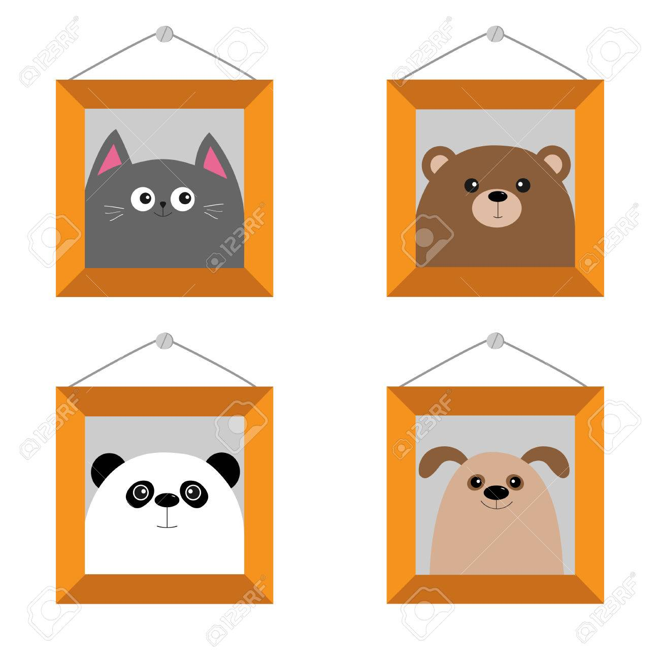 Hund, Bär, Katze, Panda Kopf. Bilderrahmen An Der Wand Hängen. Nette ...