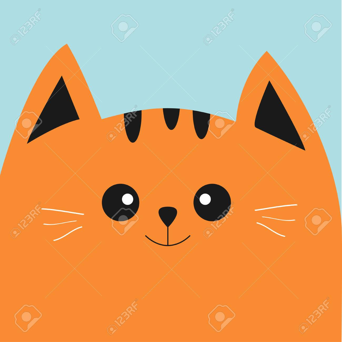 Orange Red Cat Head With Big Eyes And Moustache Cute Cartoon