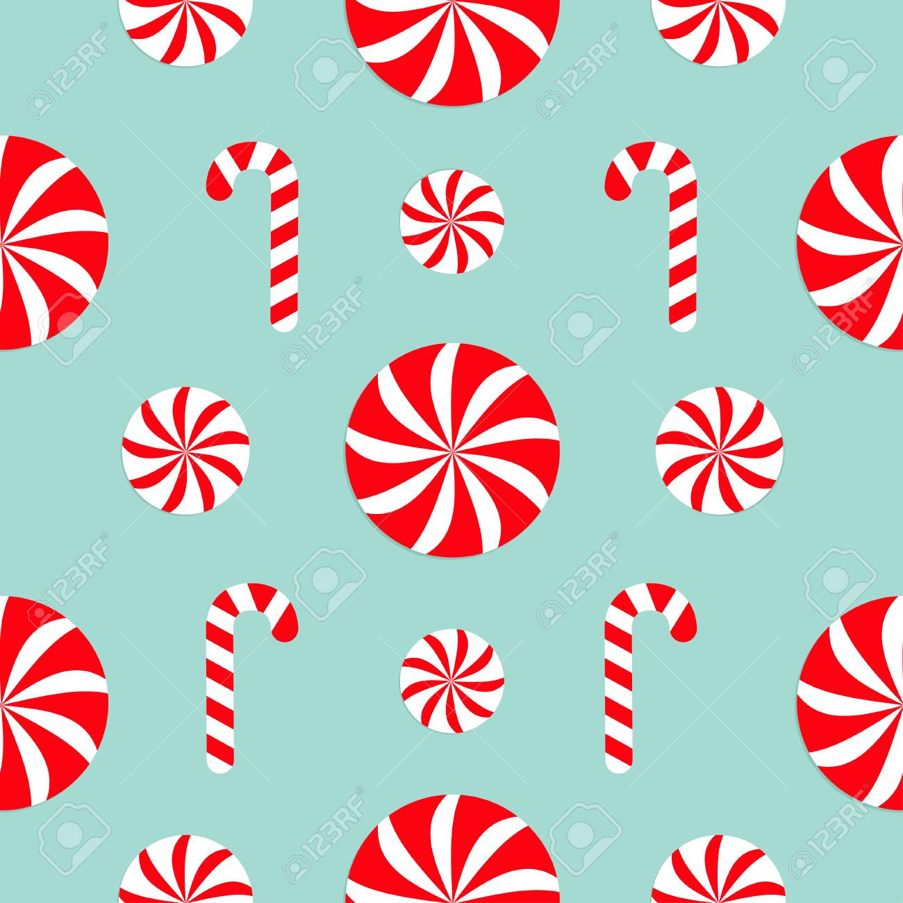 Christmas Candy Cane.Seamless Pattern Decoration Christmas Candy Cane Round White