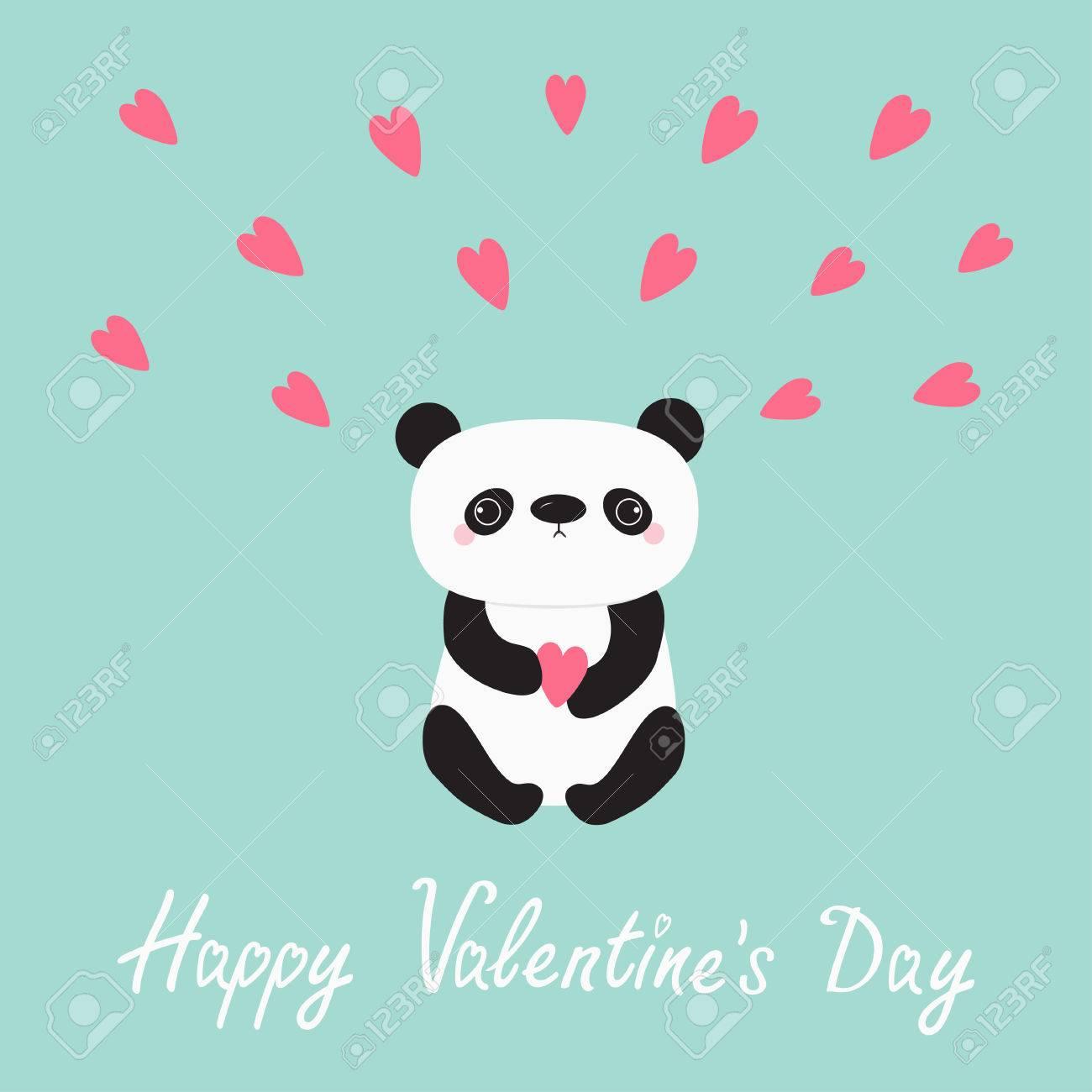 Panda Baby Bear Cute Cartoon Character Holding Pink Heart Happy