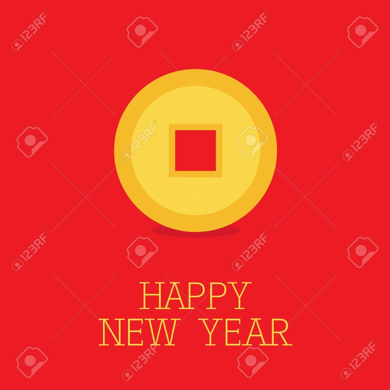 Frohes Neues Jahr Symbol Chinesische Münze Feng Shui Mit Loch