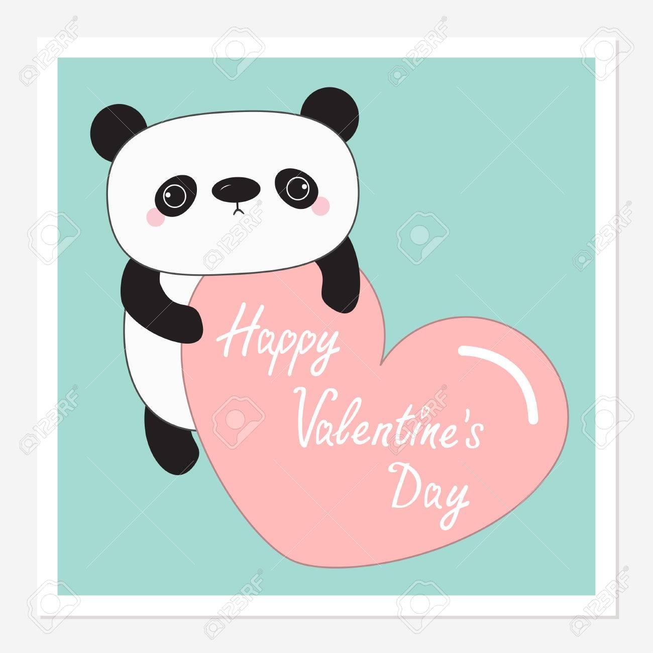 Bébé Ours Panda Joyeuse Saint Valentin Cadre Photo Instantanée Personnage De Dessin Animé Mignon Tenant Grand Coeur Rose Fond Bleu Le