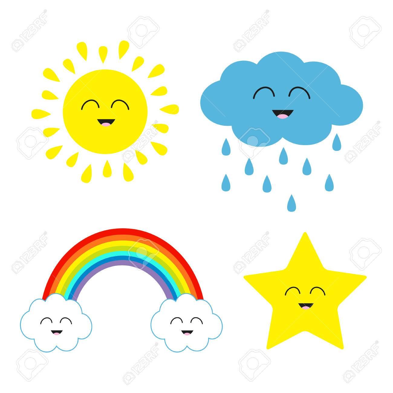 Sol De La Historieta Linda Nube De Lluvia Estrella Juego De Arco Iris La Cara Sonriente Emoción Aislado Fondo Blanco Del Bebé Colección Charcter