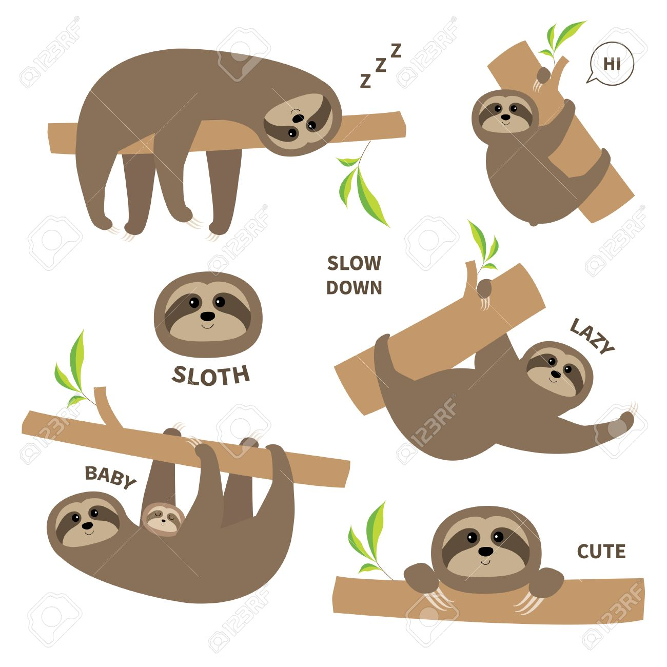 Sloth set mother with baby. Cute lazy cartoon character. Slow down text. Tree branch Wild joungle animal collection. Isolated. White background. Flat design. Vector illustration - 67170204