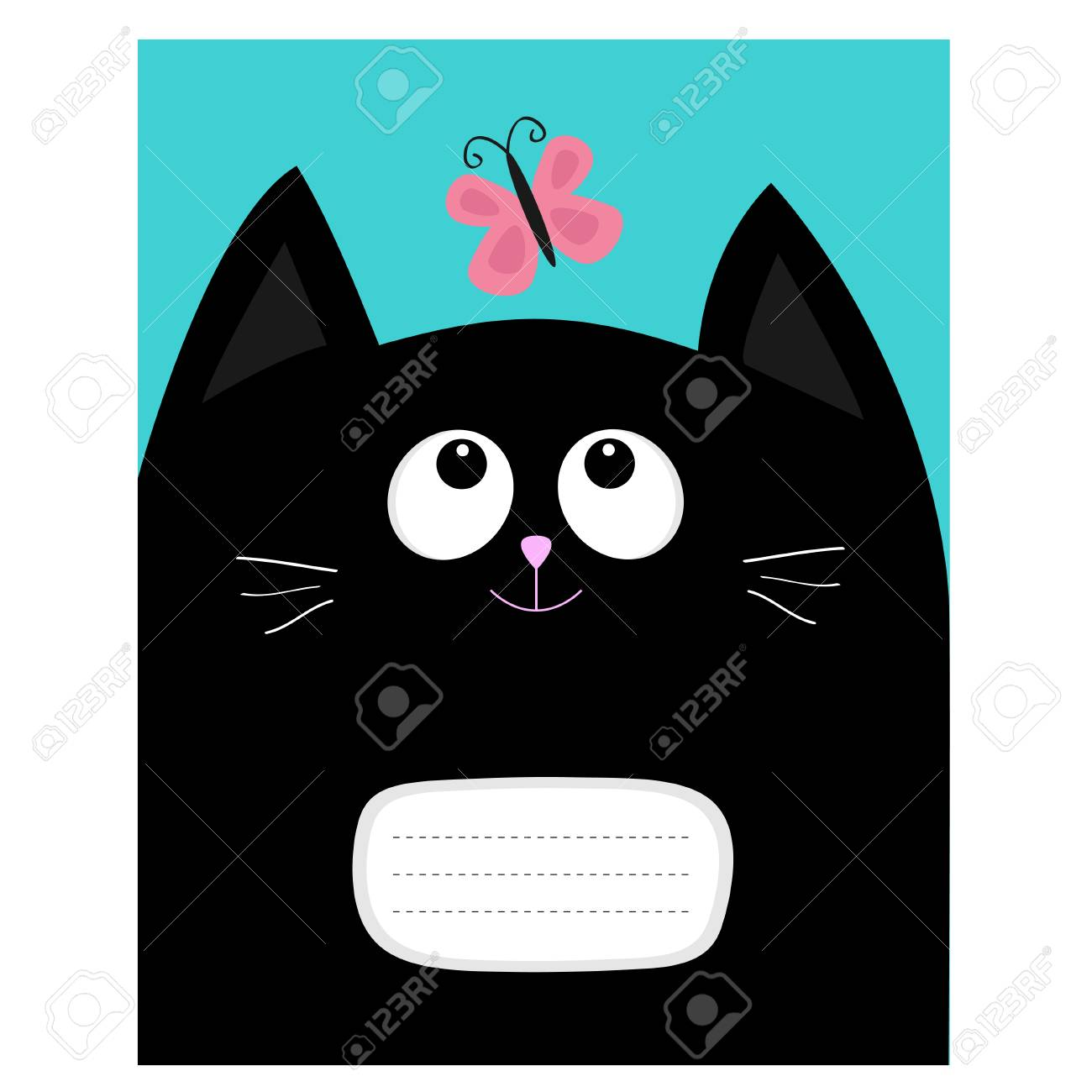 Composition Book Cover Background ~ Notebook cover composition book template black cat kitty head