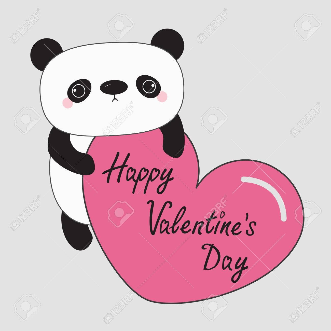 Bebe Oso Panda Feliz Dia De San Valentin Personaje De Dibujos