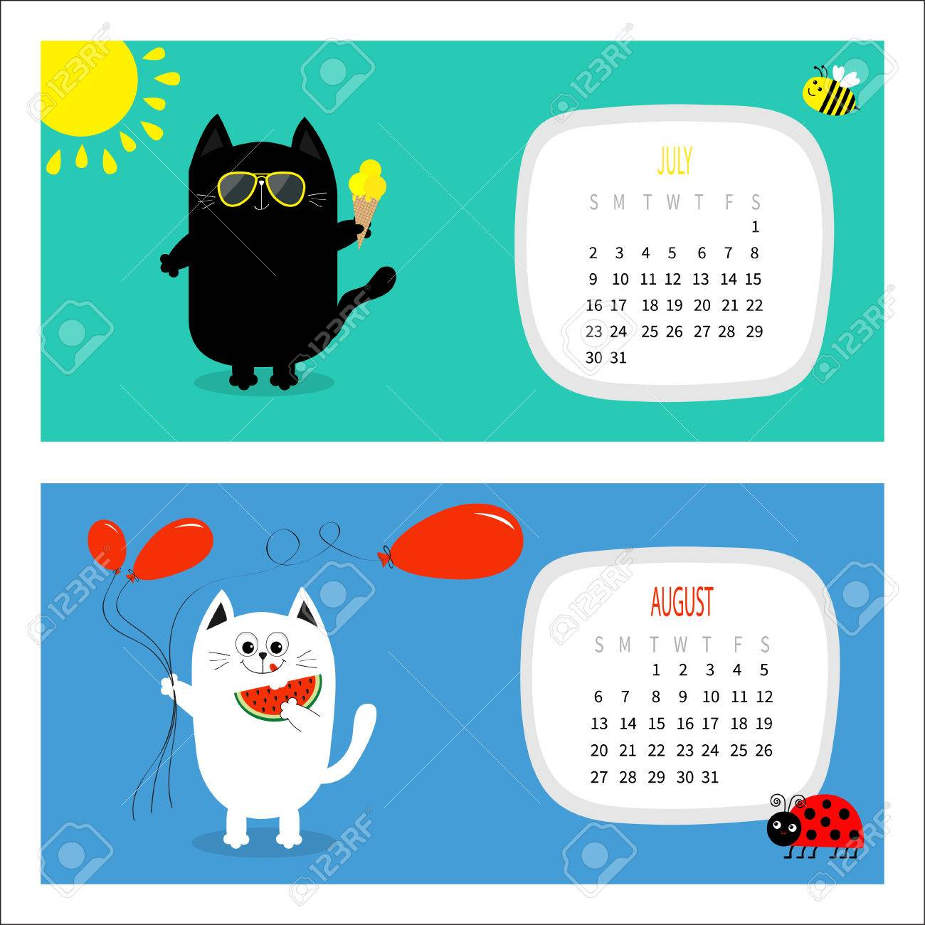 Cat Horizontal Calendar 2017. Cute Funny Cartoon White Black Character Set.  July August Hello