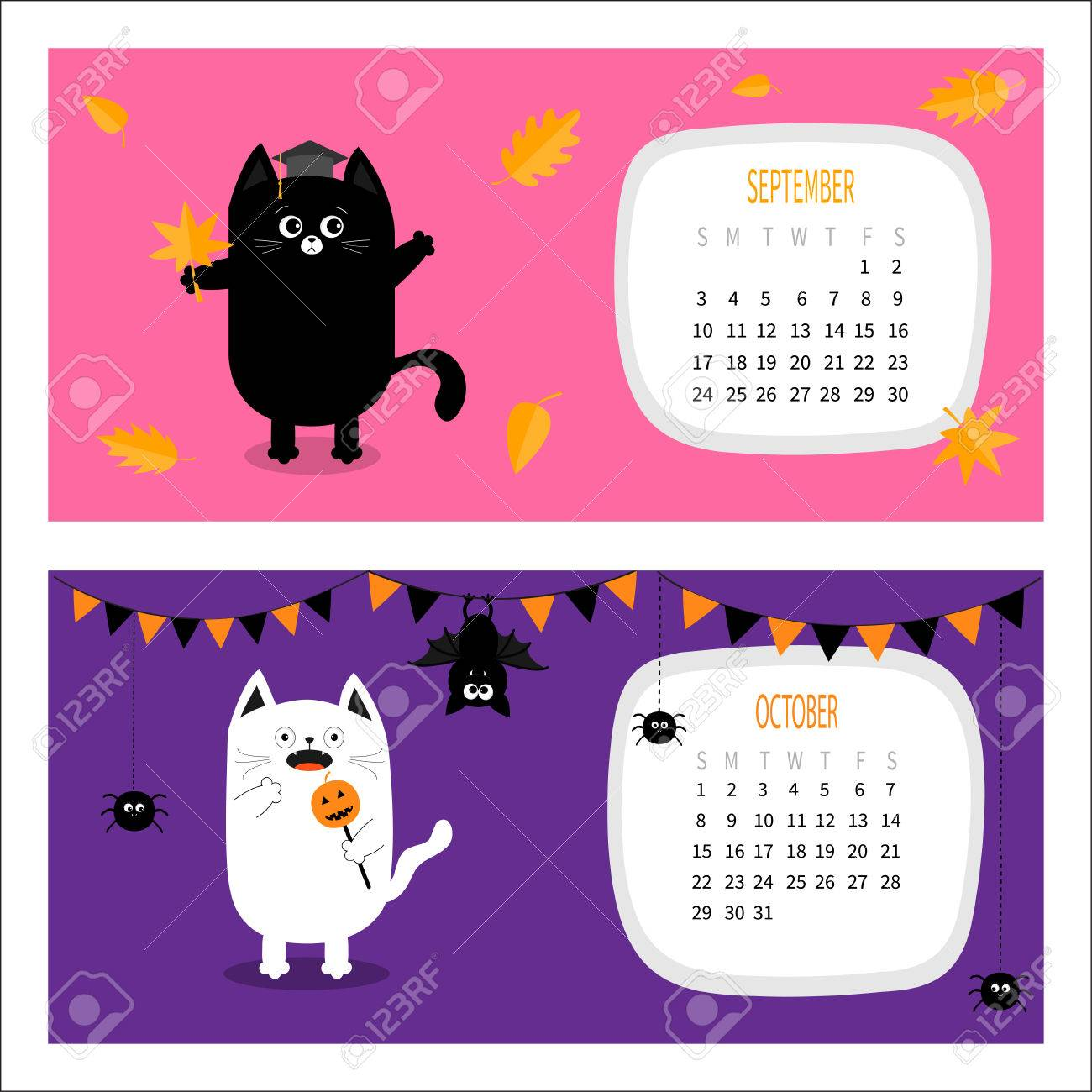 2017 Calendario Del Gato Horizontal. Establece El Carácter Divertido ...