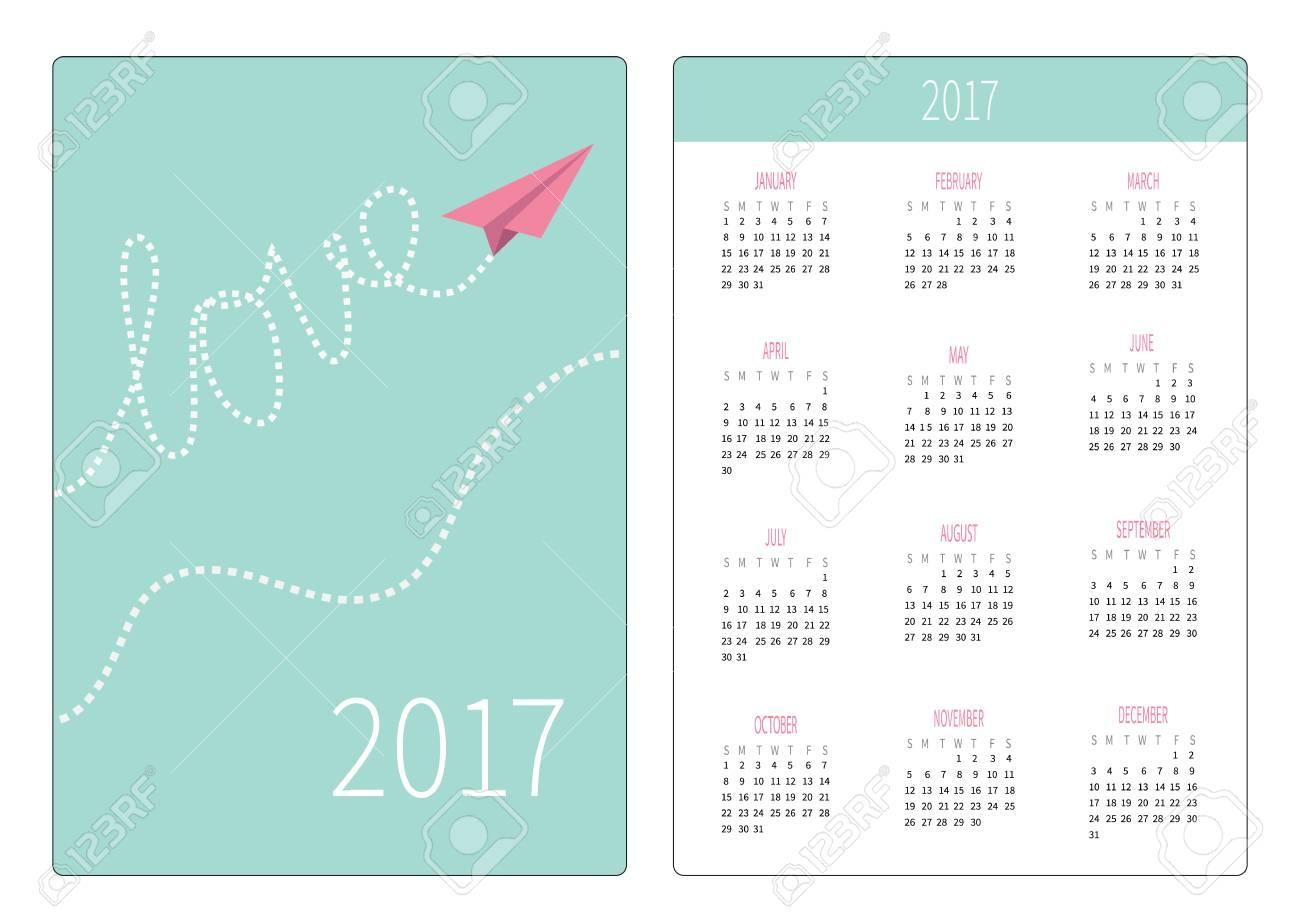 Calendario De Bolsillo 2017 Años. La Semana Comienza El Domingo ...