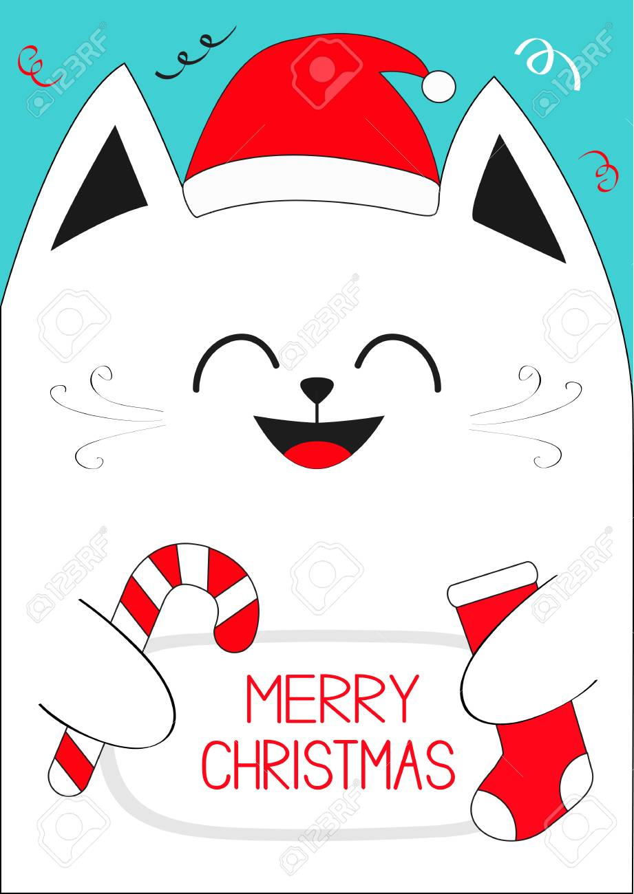 White Cat Holding Merry Christmas Text, Candy Cane, Sock. Cute ...