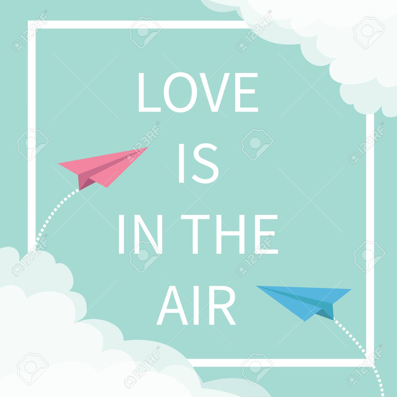 Love is in the air lettering text two flying origami paper plane two flying origami paper plane dashed square jeuxipadfo Image collections