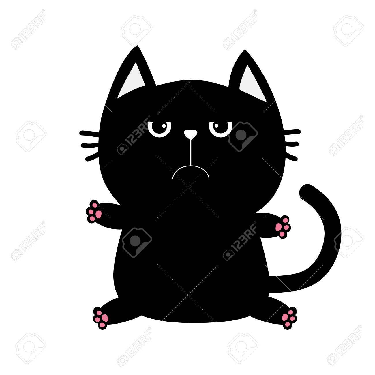 Icone De Chat Noir Mignon Et Drole De Dessin Anime Animal Grosse