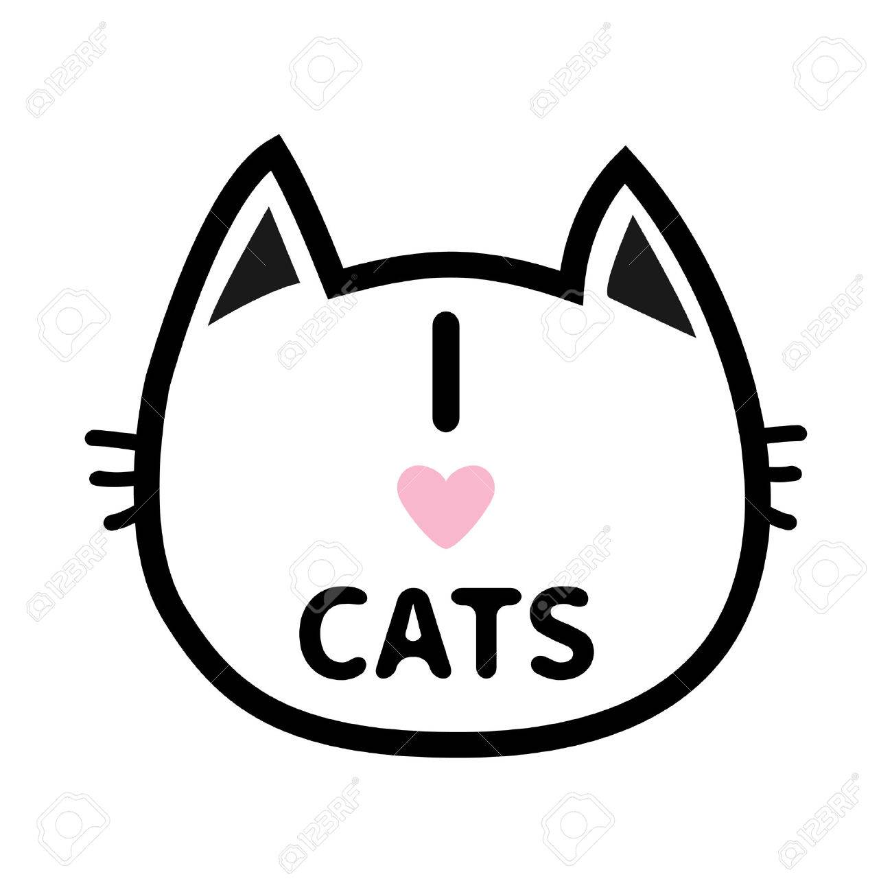 I Love Cats Heart Text Lettering Black Cat Head Face Contour