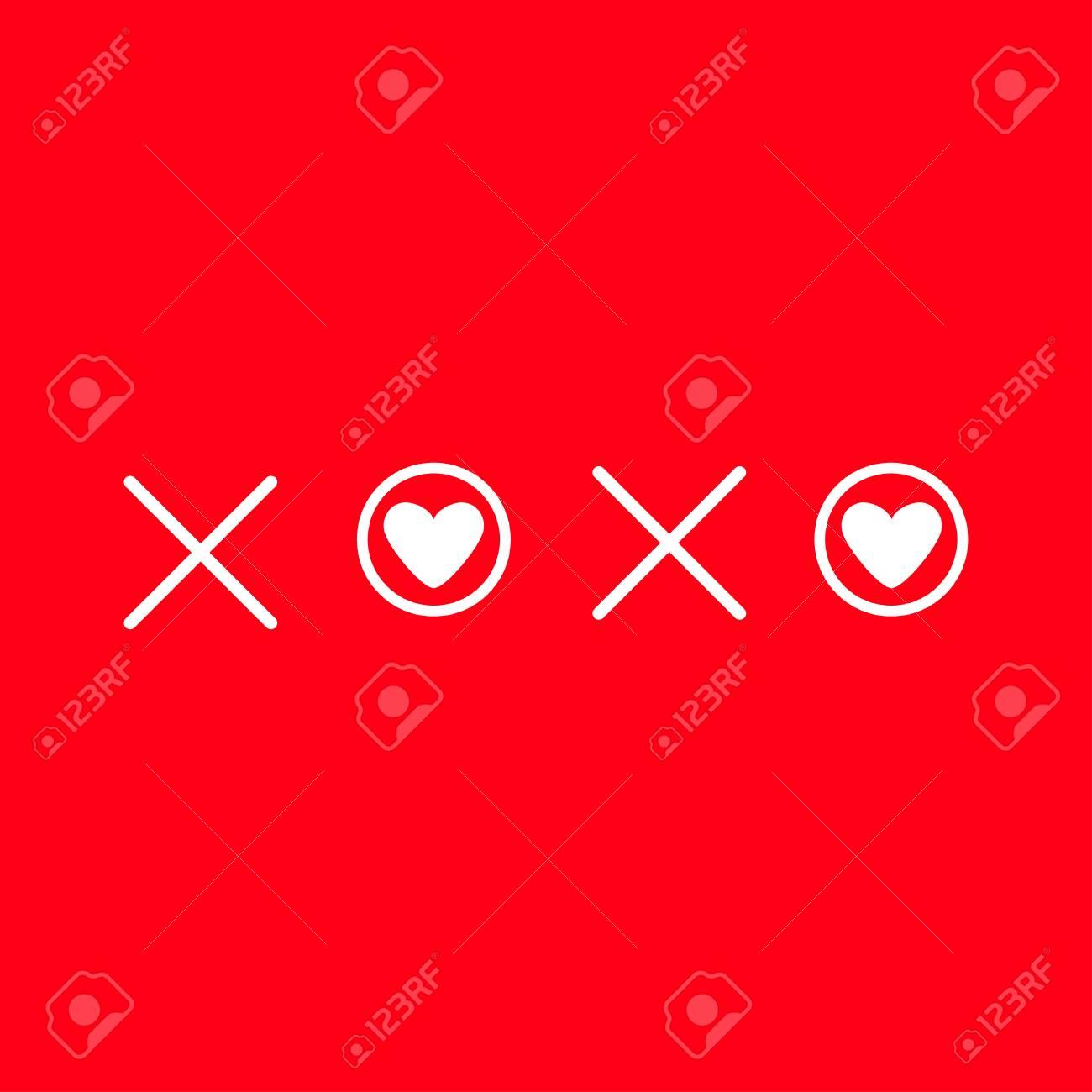 Xoxo Calins Et Bisous Signe Symbole Marque Carte Amour Coeur Blanc
