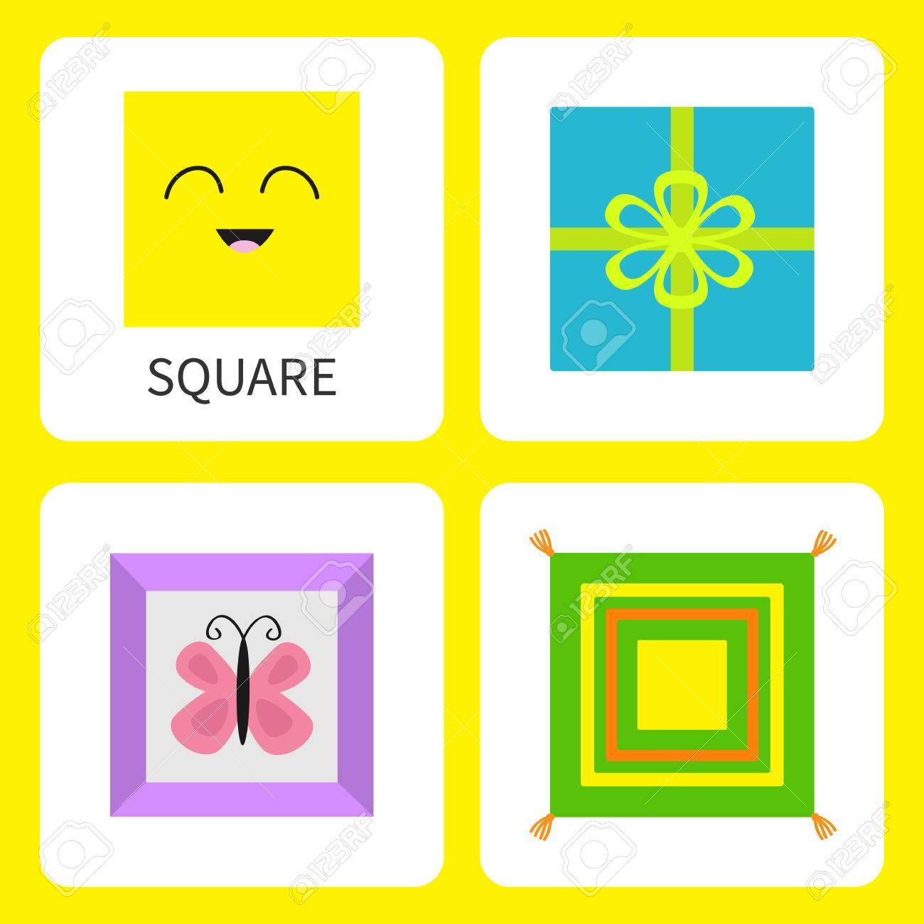 Lernen Quadratische Form Form. Lächelndes Gesicht. Netter ...