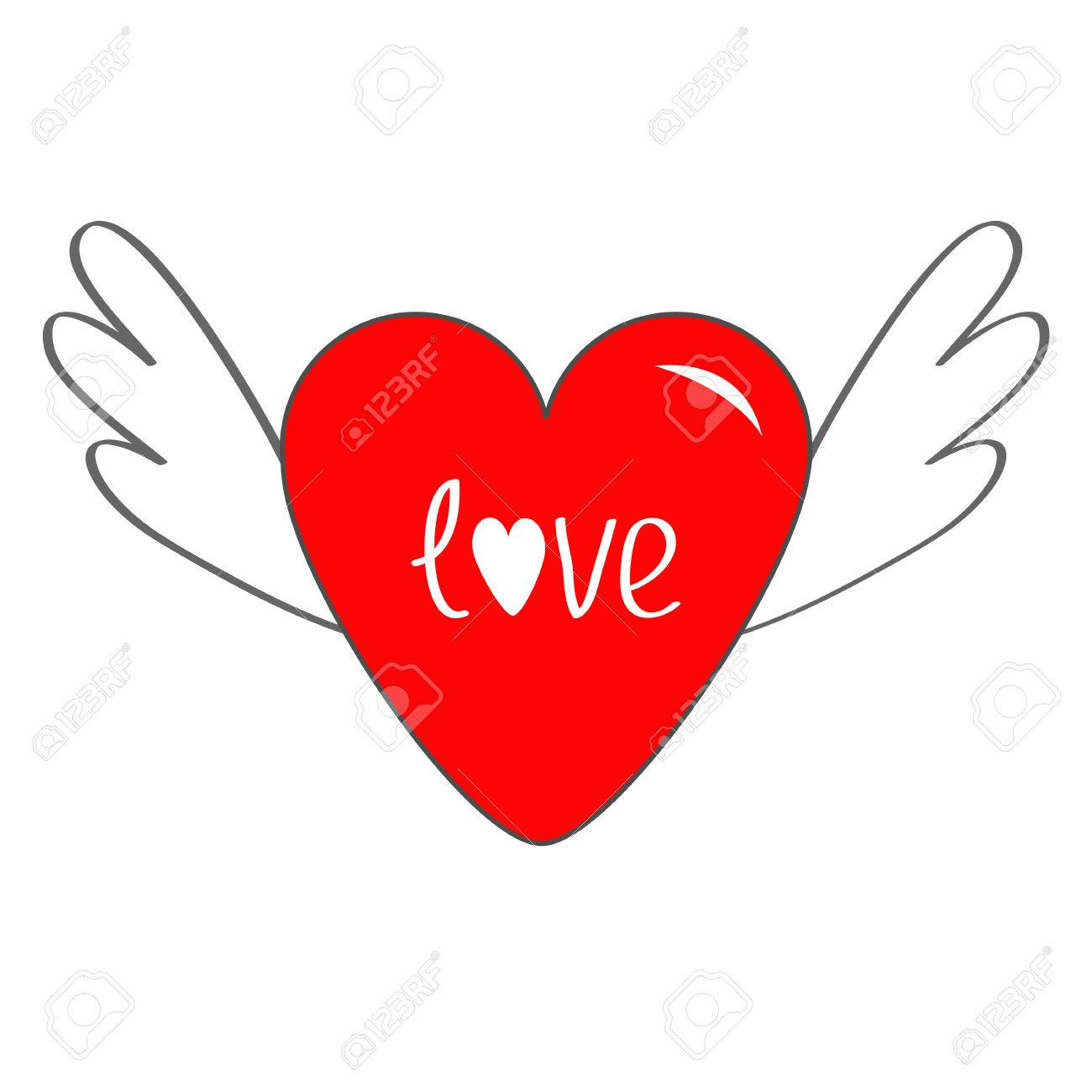 Red heart with wings cute cartoon contour sign symbol winged red heart with wings cute cartoon contour sign symbol winged shining angel hearts buycottarizona Images