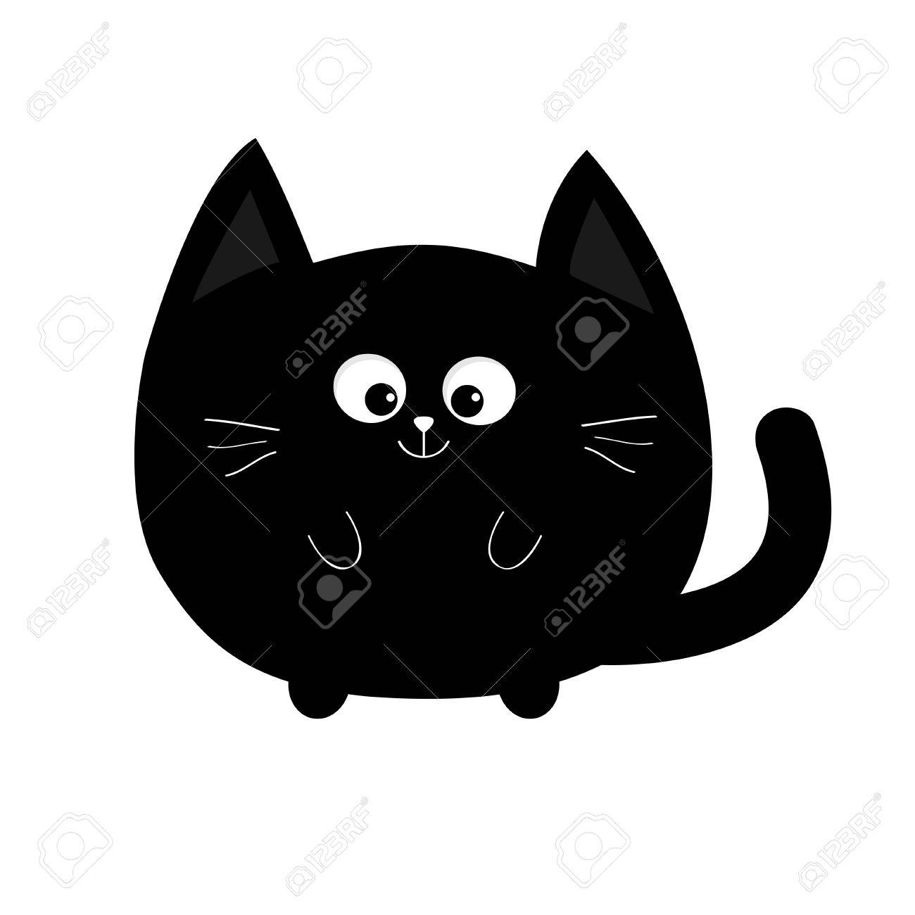 Round Shape Black Cat Icon Cute Funny Cartoon Smiling Character