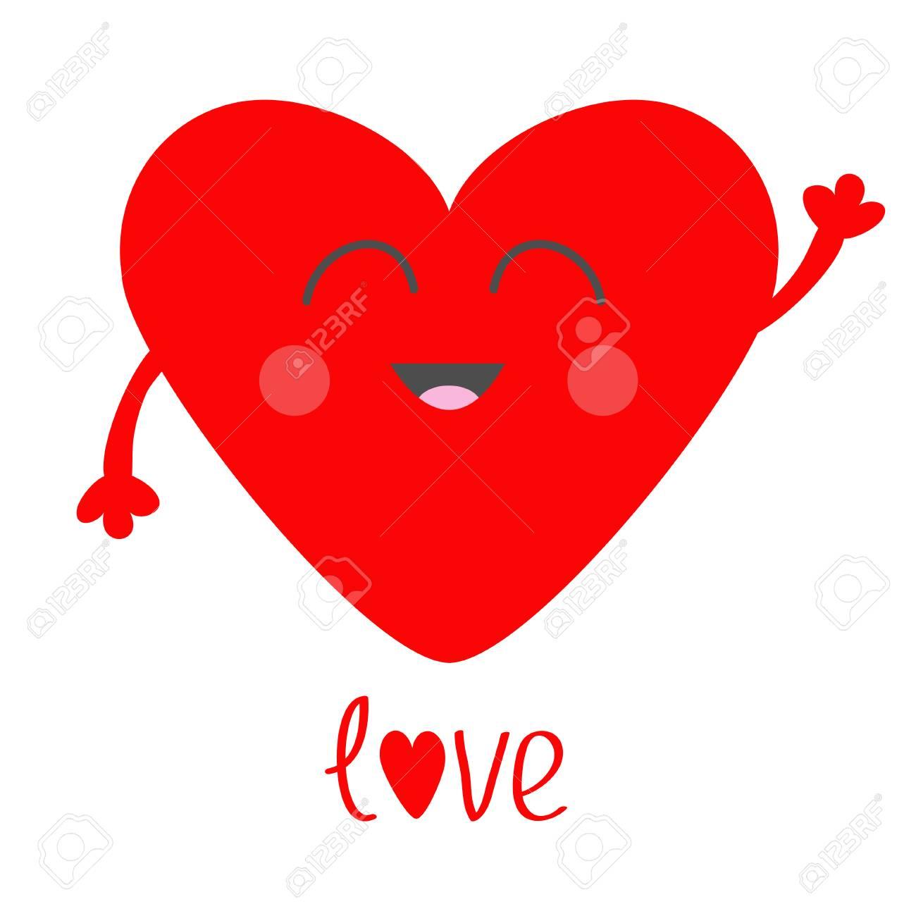 Coeur Rouge Visage Tête Avec Les Mains Personnage Souriant Kawaii De Dessin Animé Mignon Symbole De Signe De Saint Valentin Style Design Plat