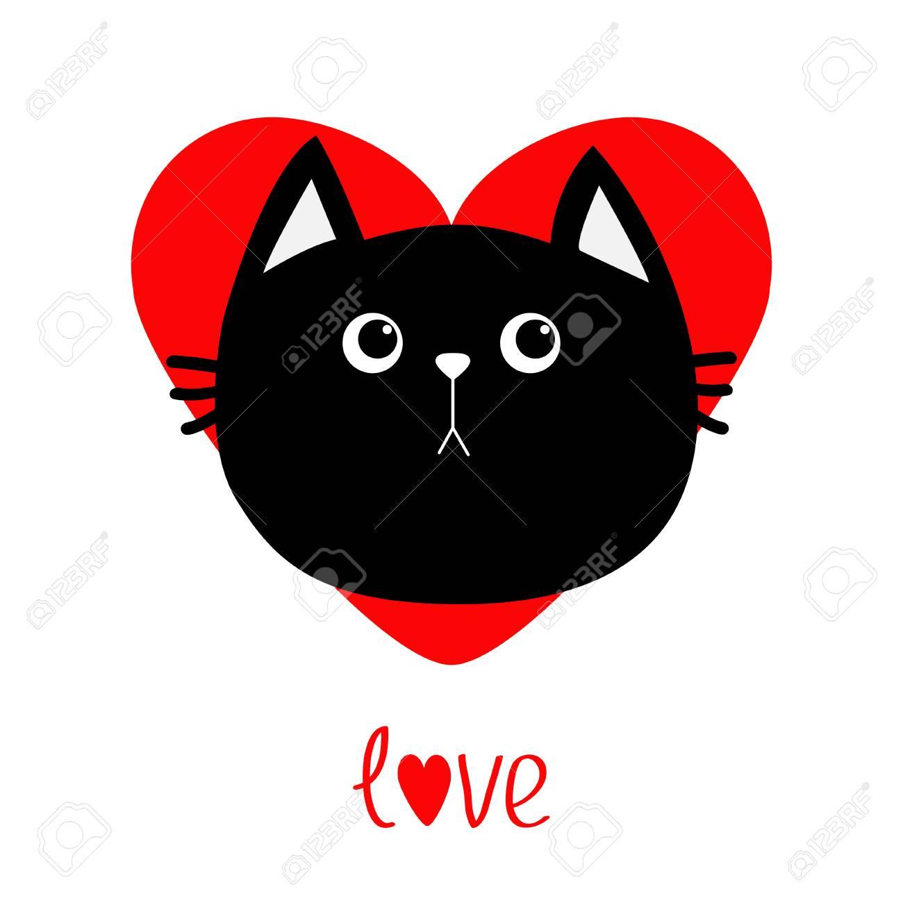 Icône Tête De Chat Noir Coeur Rouge Personnage Drôle De Dessin Animé Carte De Voeux Pour Le Mot Amour Saint Valentin émotion Triste Collection
