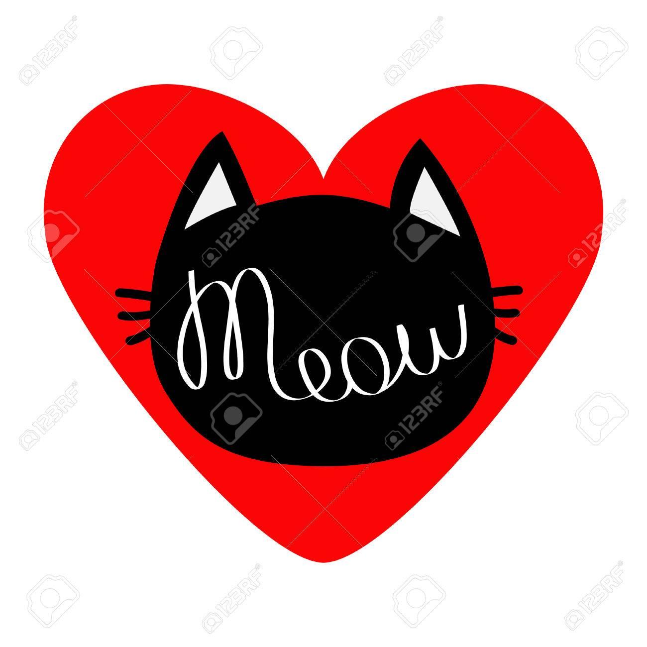 Forme De Silhouette De Tete De Chat Noir Miaou Texte De Lettrage