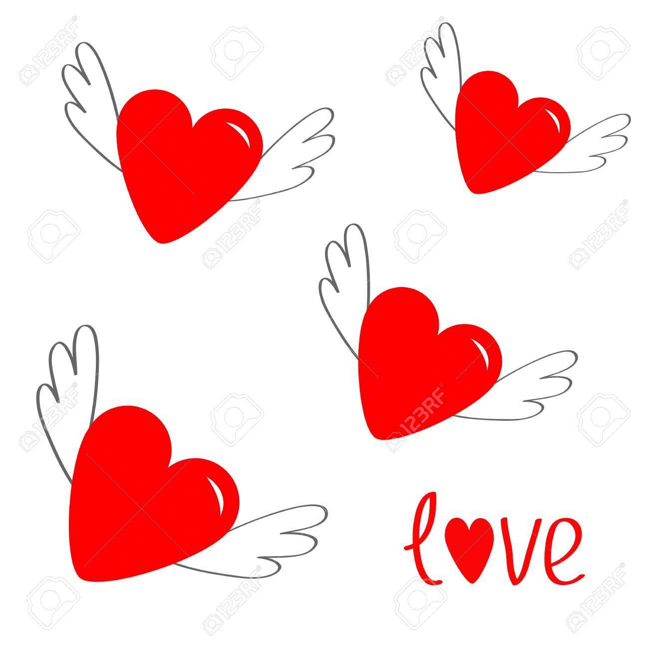 Coeur Rouge Avec Des Ailes Symbole De Signe De Dessin Anime