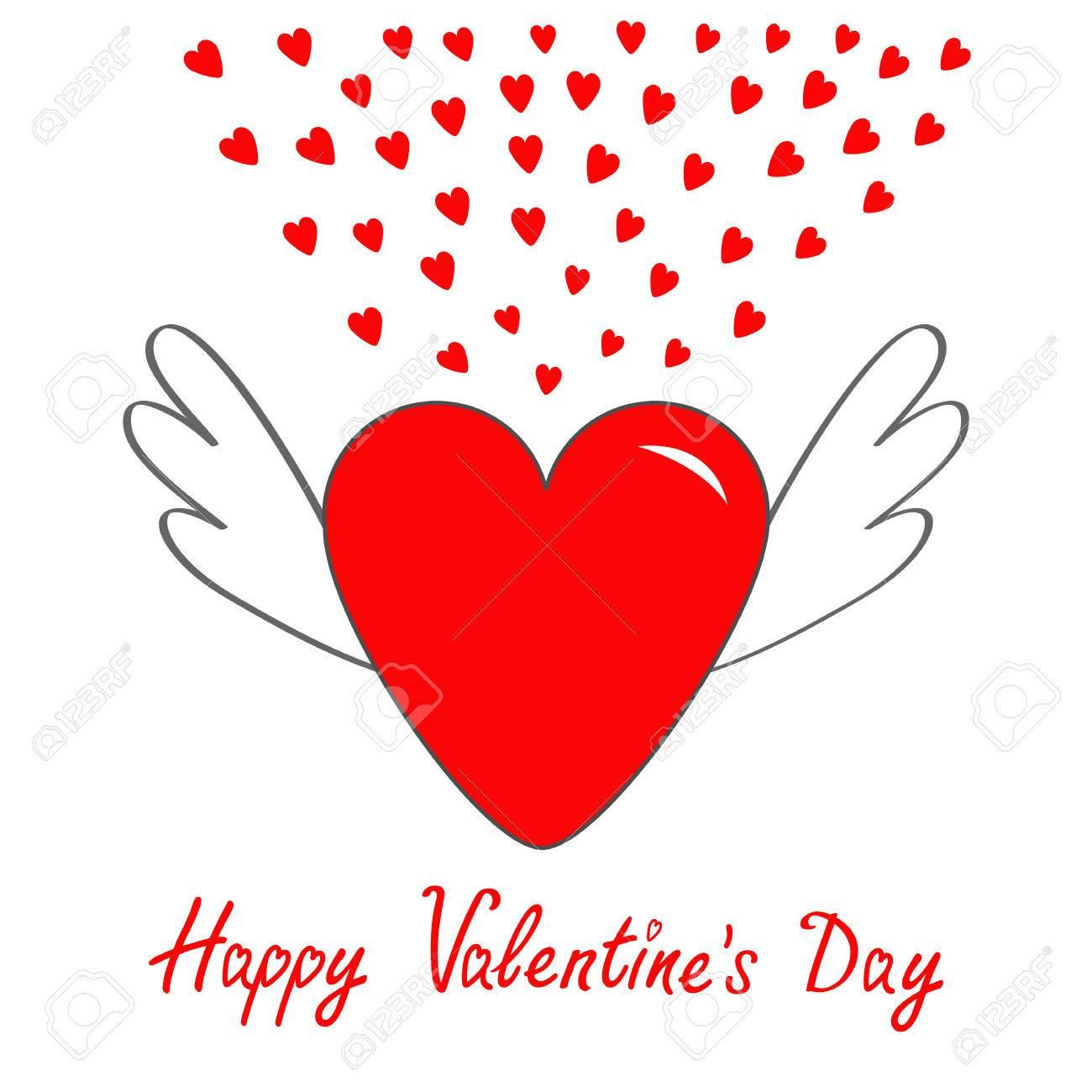 Feliz Día De San Valentín Corazón Rojo Con Alas Símbolo De Signo